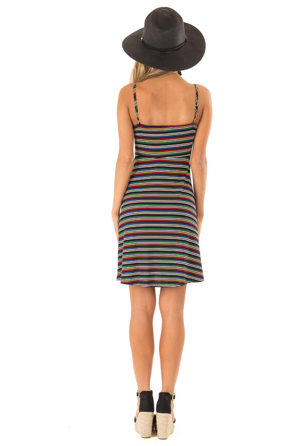 Rainbow Striped Spaghetti Strap Dress with Front Tie back full body