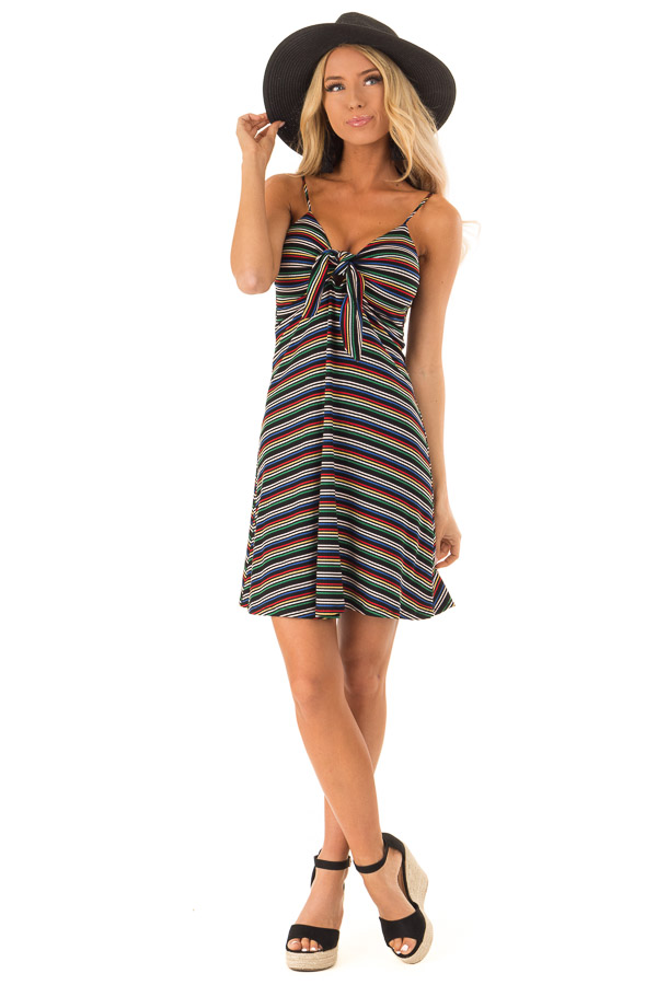 Rainbow Striped Spaghetti Strap Dress with Front Tie front full body