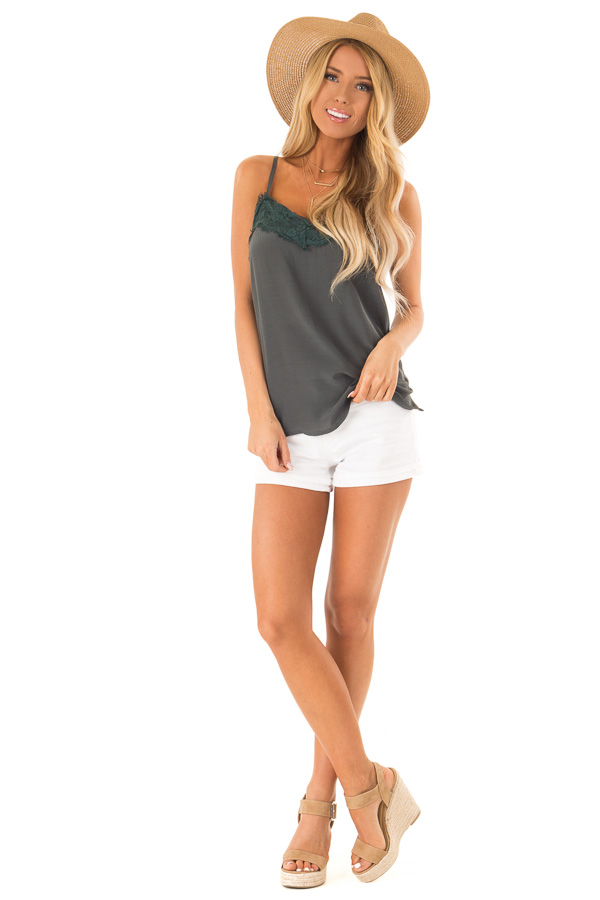 Deep Pine Spaghetti Strap Loose Lace Camisole front full body