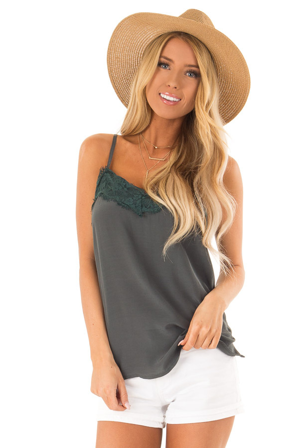 Deep Pine Spaghetti Strap Loose Lace Camisole front close up