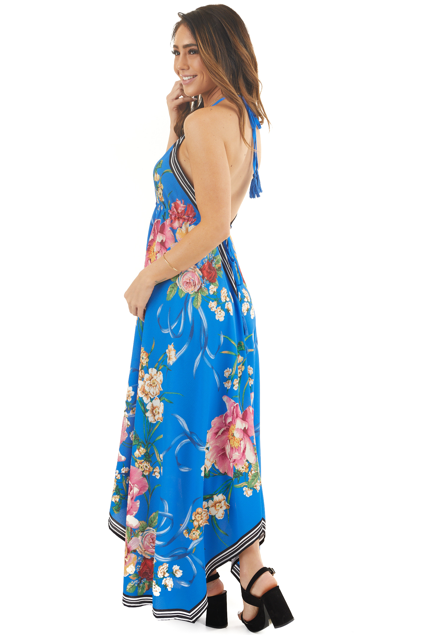Cobalt Blue Floral Handkerchief Halter Maxi Dress