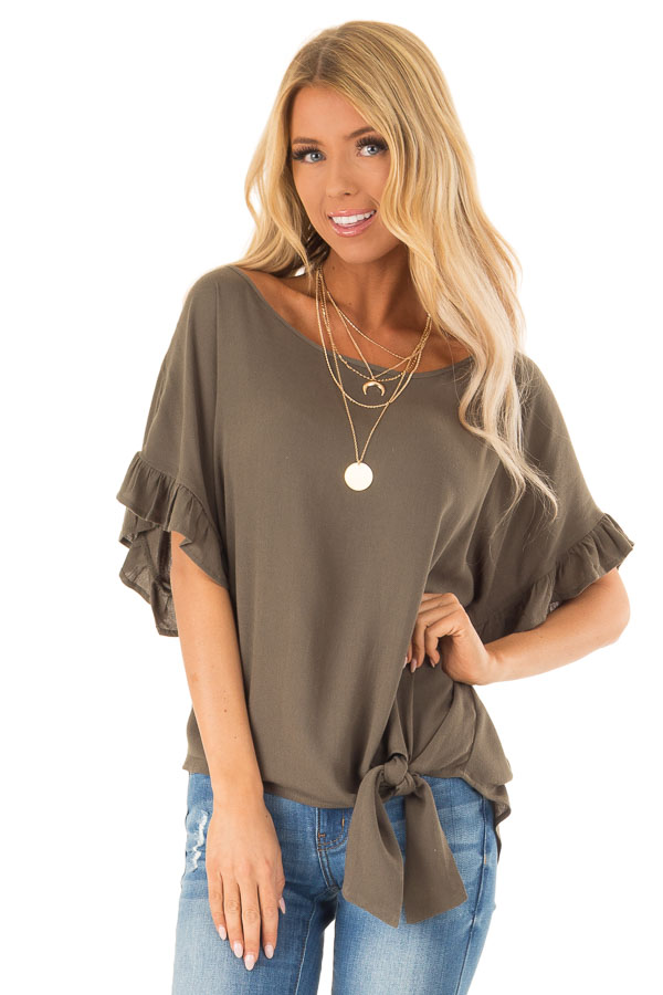 Deep Olive Ruffled Sleeve Blouse with Front Knot Detail front close up