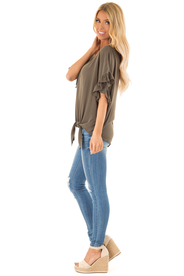 Deep Olive Ruffled Sleeve Blouse with Front Knot Detail side full body