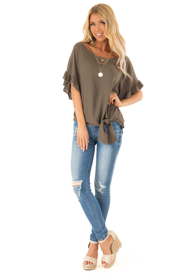 Deep Olive Ruffled Sleeve Blouse with Front Knot Detail front full body