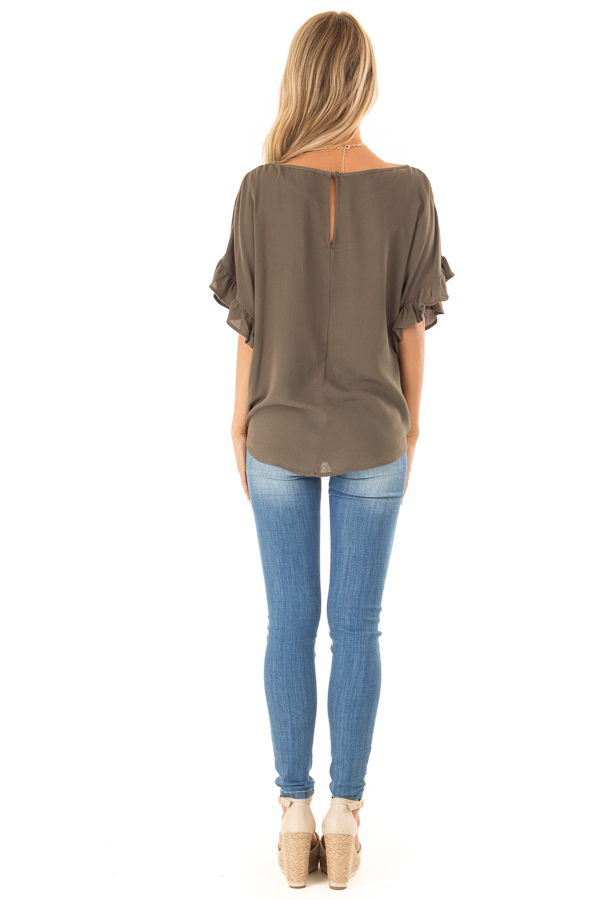 Deep Olive Ruffled Sleeve Blouse with Front Knot Detail back full body