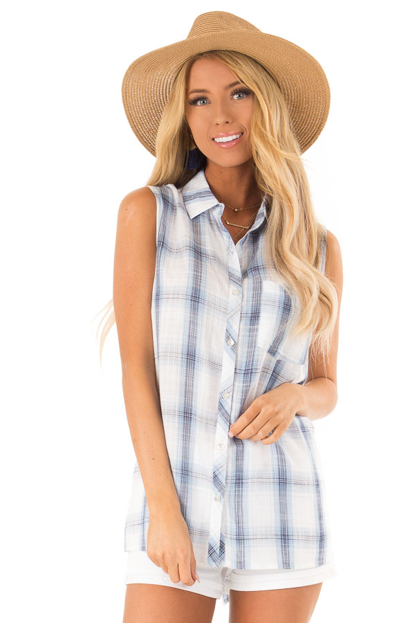 Dusty Blue Plaid Sleeveless Button Up Collared Top front close up