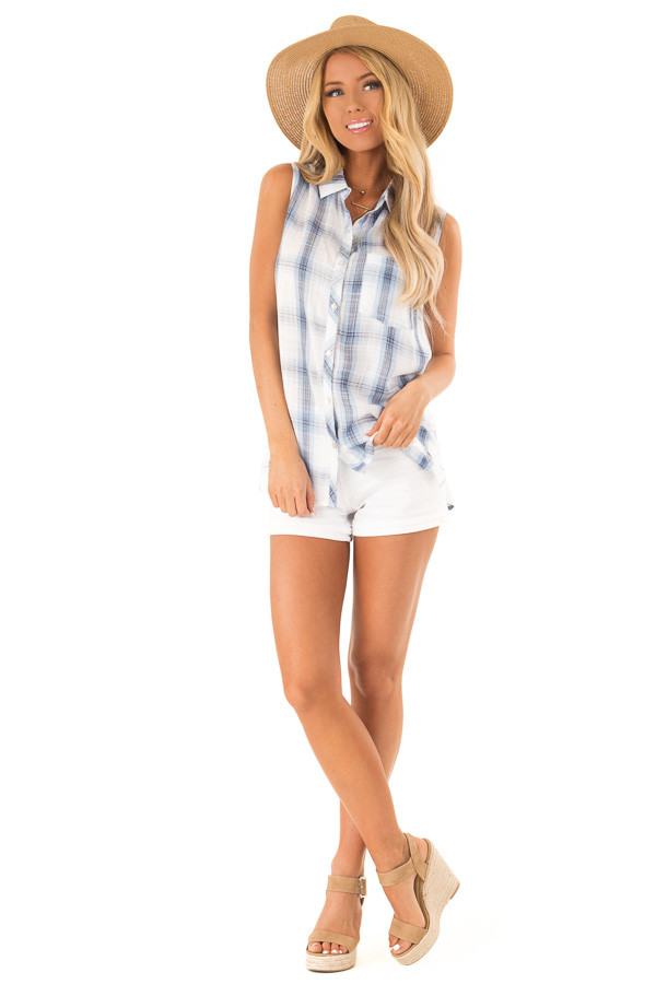 Dusty Blue Plaid Sleeveless Button Up Collared Top front full body