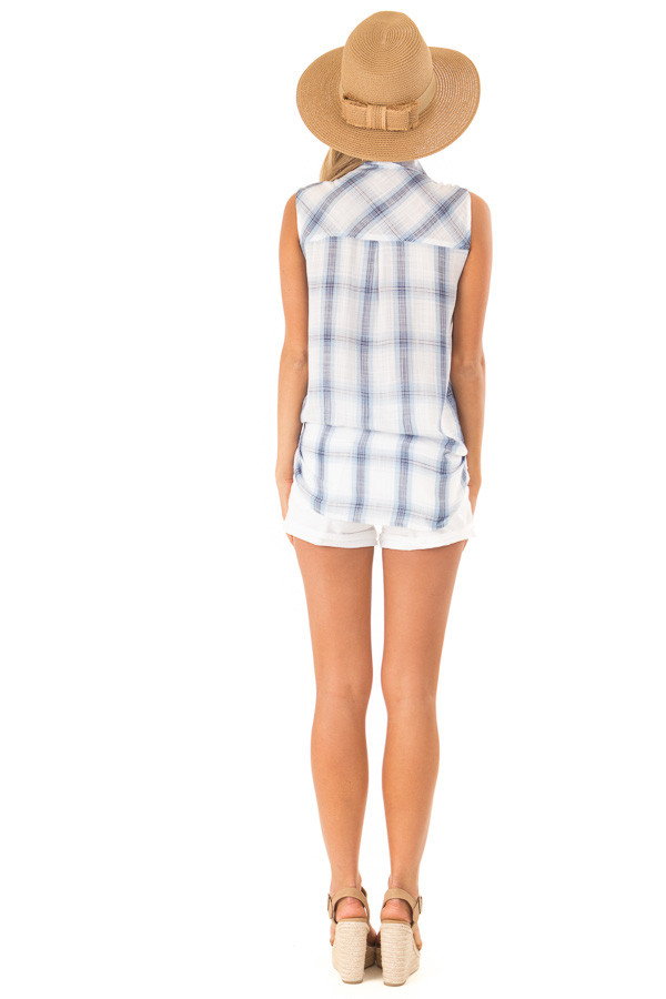 Dusty Blue Plaid Sleeveless Button Up Collared Top back full body
