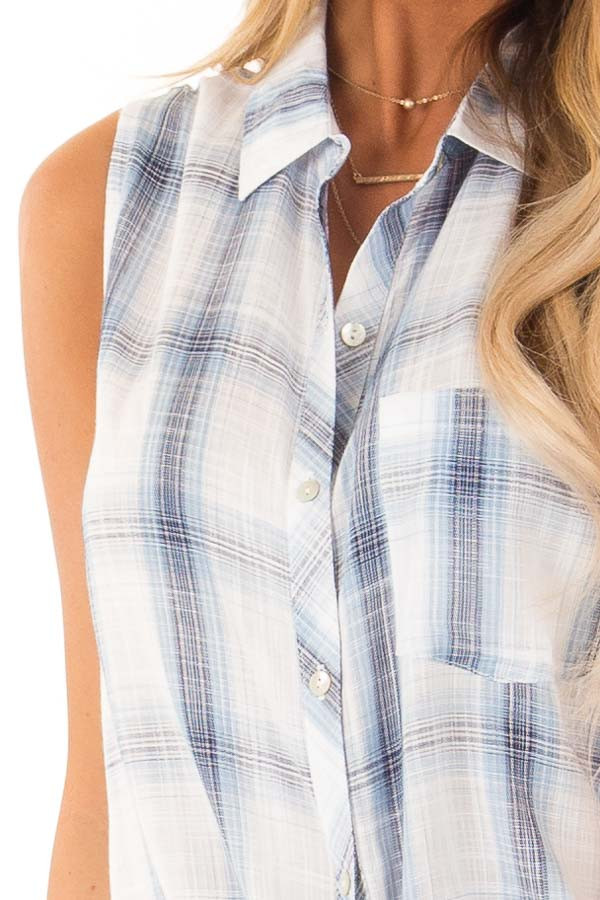 Dusty Blue Plaid Sleeveless Button Up Collared Top detail