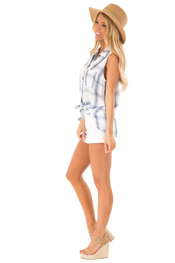 Dusty Blue Plaid Sleeveless Button Up Collared Top side full body