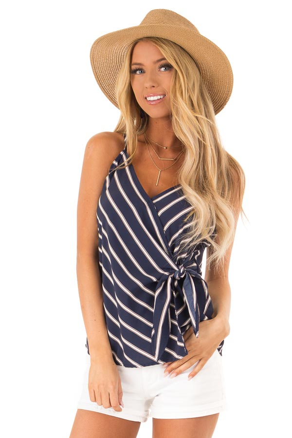 b5fa650ef1c11 Navy Striped Wrap Style Tank Top with Side Tie Detail - Lime Lush ...