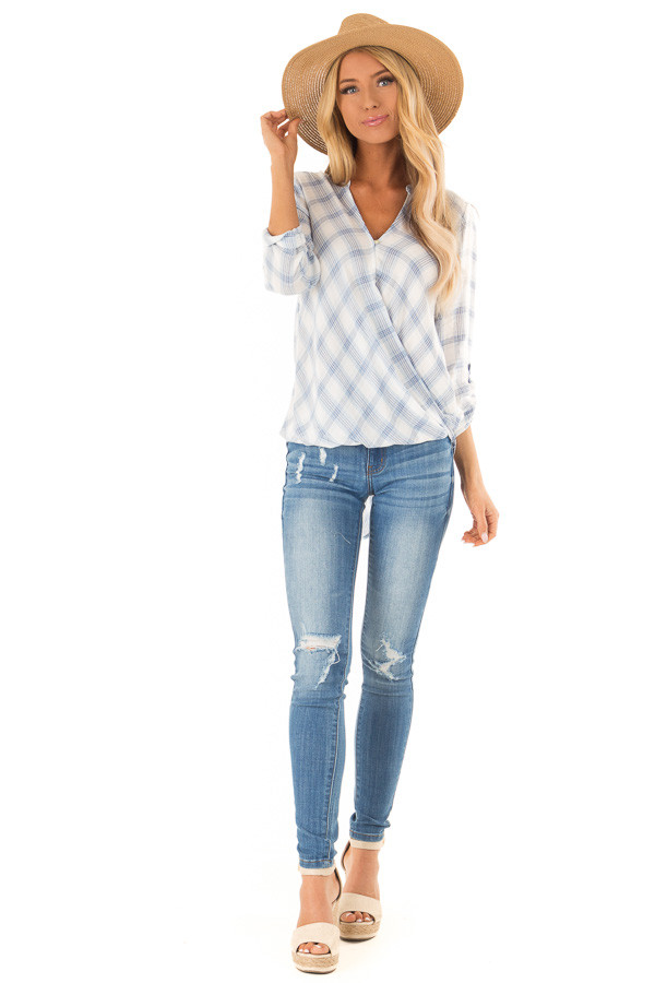 Dusty Blue Plaid Surplice Top with Button Closure front full body