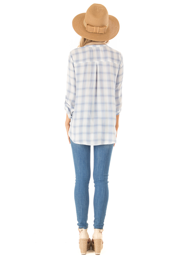 Dusty Blue Plaid Surplice Top with Button Closure back full body
