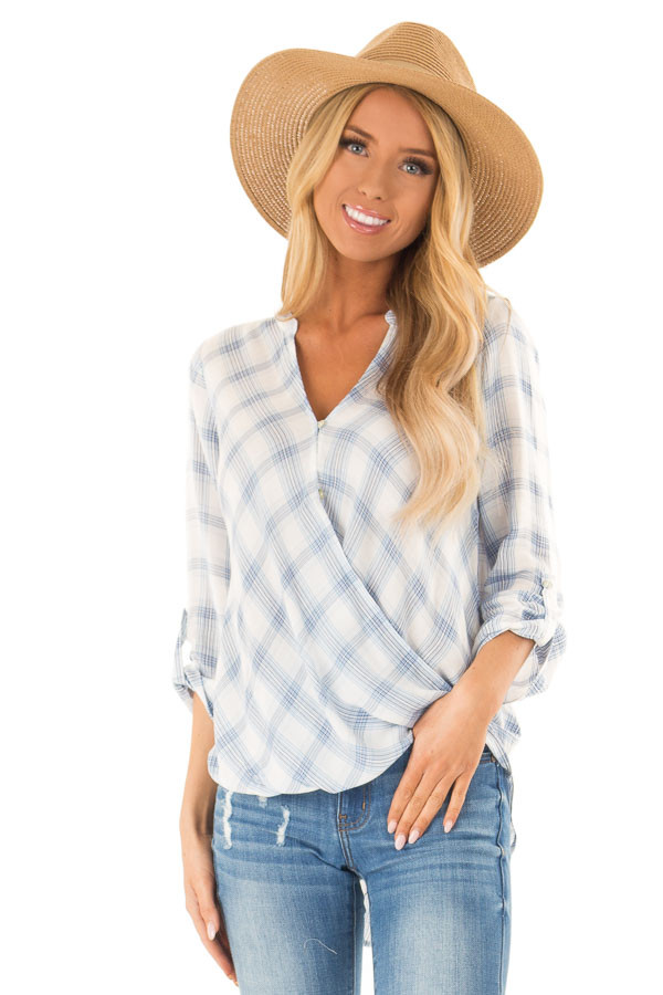 Dusty Blue Plaid Surplice Top with Button Closure front close up