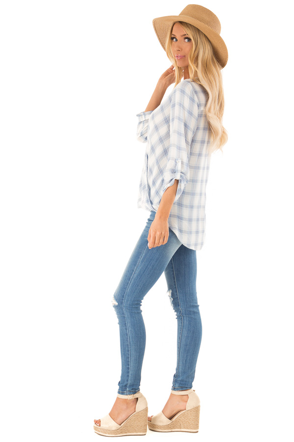 Dusty Blue Plaid Surplice Top with Button Closure side full body