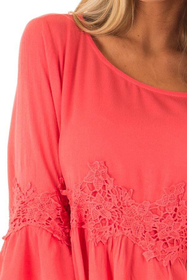 Coral Peasant Top with 3/4 Length Sleeves and Embroidery detail