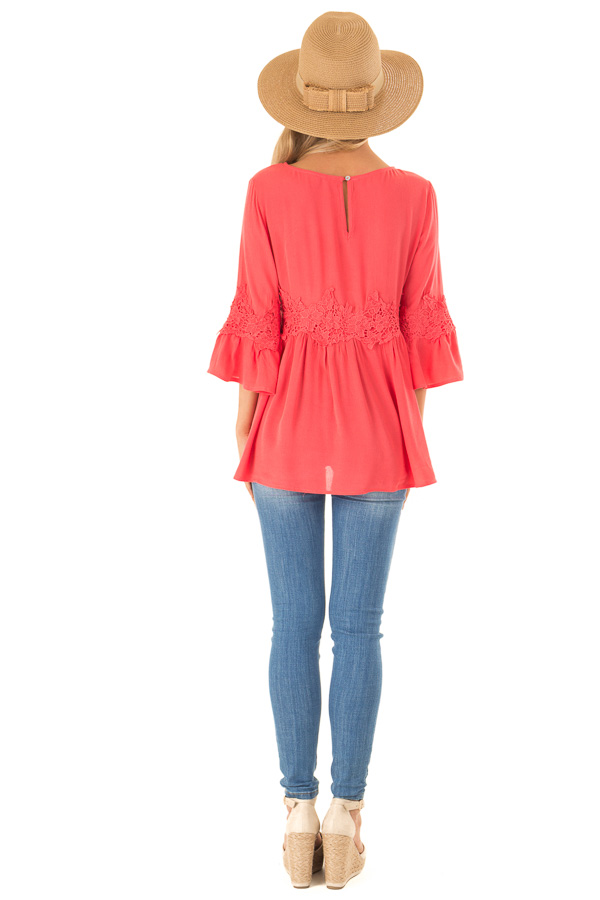 Coral Peasant Top with 3/4 Length Sleeves and Embroidery back full body