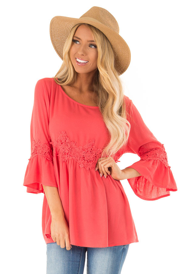 Coral Peasant Top with 3/4 Length Sleeves and Embroidery