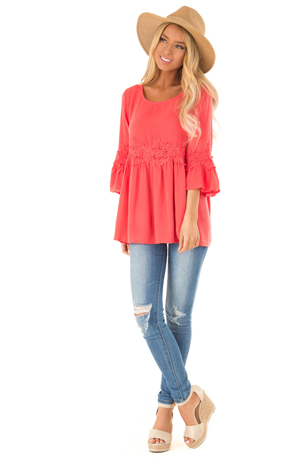 Coral Peasant Top with 3/4 Length Sleeves and Embroidery front full body