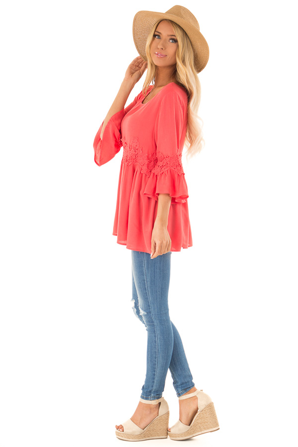 Coral Peasant Top with 3/4 Length Sleeves and Embroidery side full body