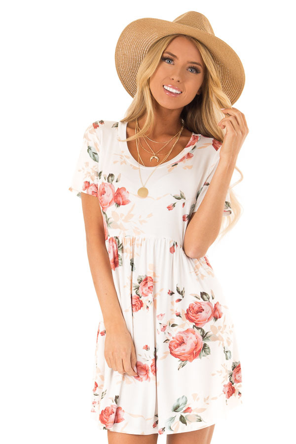 20eec79dc175 Off White Floral Print Dress with Short Sleeves - Lime Lush Boutique