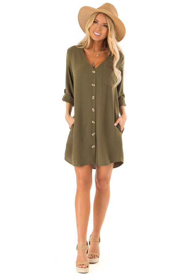 Olive V Neck Button Up Dress with Side Pockets front full body