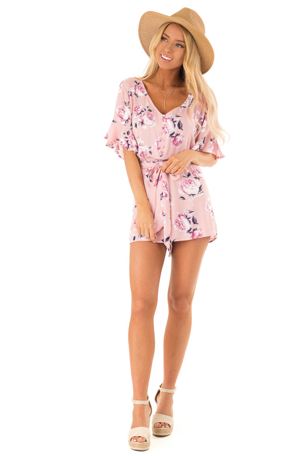 6a8bcaa4d1f8 ... Carnation Pink and Floral Button Up Romper with Waist Tie front full  body ...