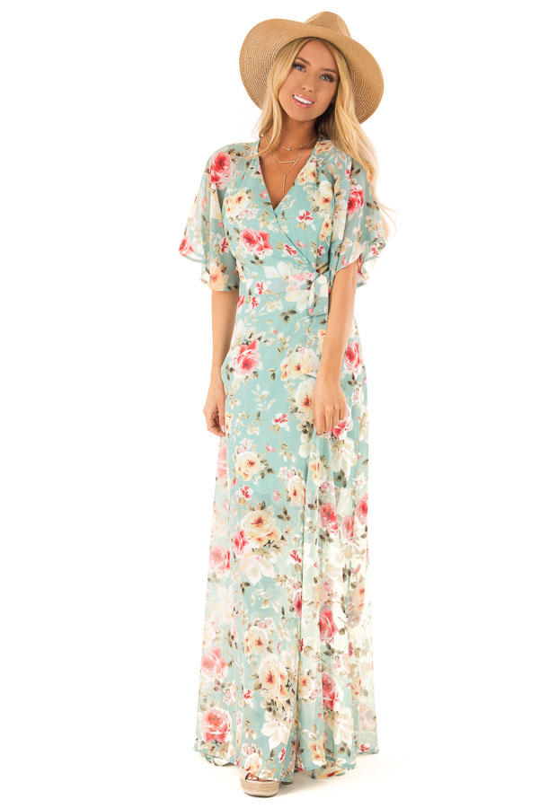 81fdf1d64fd7 Faded Teal Floral Maxi Wrap Dress with Sheer Ruffle Sleeves front full body