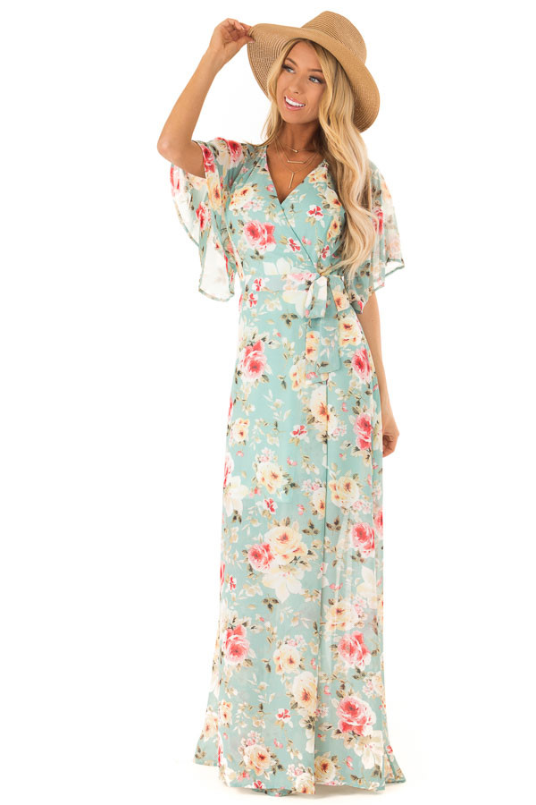 82536d326b0c ... Faded Teal Floral Maxi Wrap Dress with Sheer Ruffle Sleeves front full  body ...