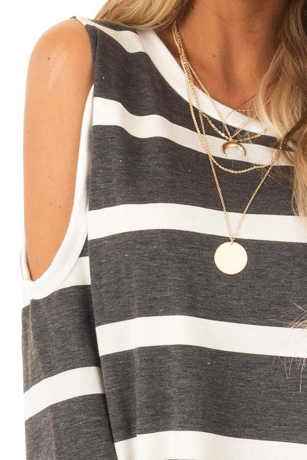 Deep Charcoal and Ivory Striped Cold Shoulder Top detail