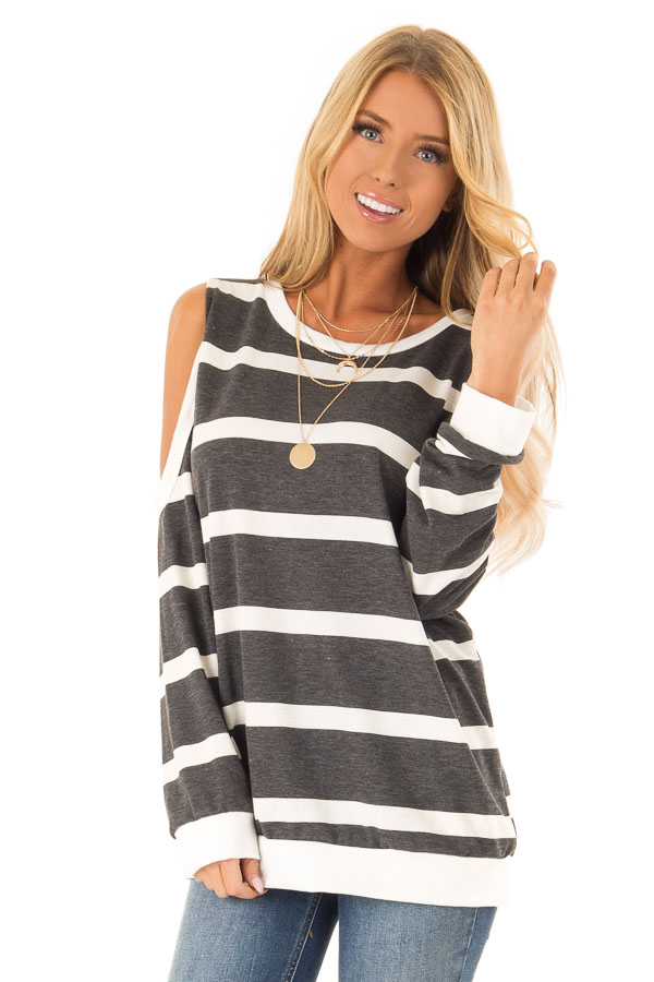 Deep Charcoal and Ivory Striped Cold Shoulder Top front close up