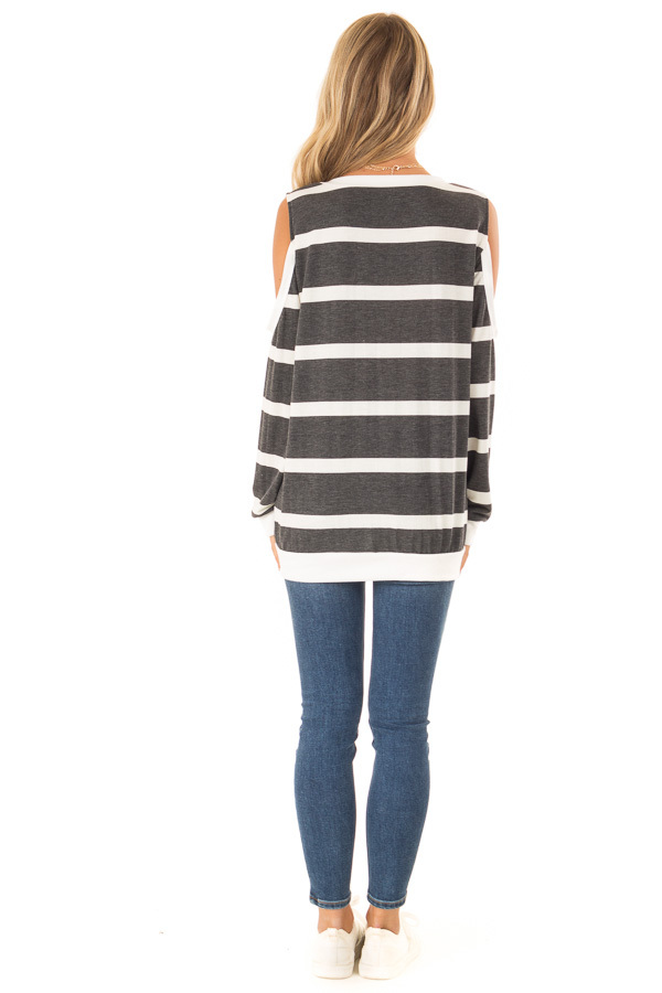 Deep Charcoal and Ivory Striped Cold Shoulder Top back full body