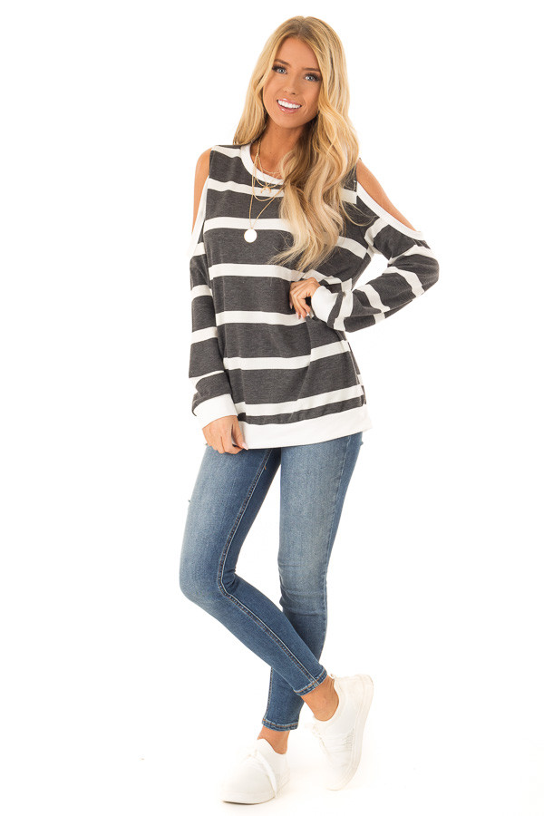 Deep Charcoal and Ivory Striped Cold Shoulder Top front full body
