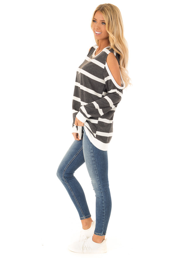 Deep Charcoal and Ivory Striped Cold Shoulder Top side full body