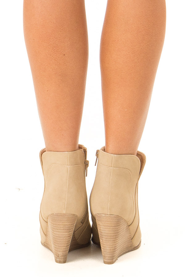 Camel Faux Suede Stacked Wedge Bootie back view