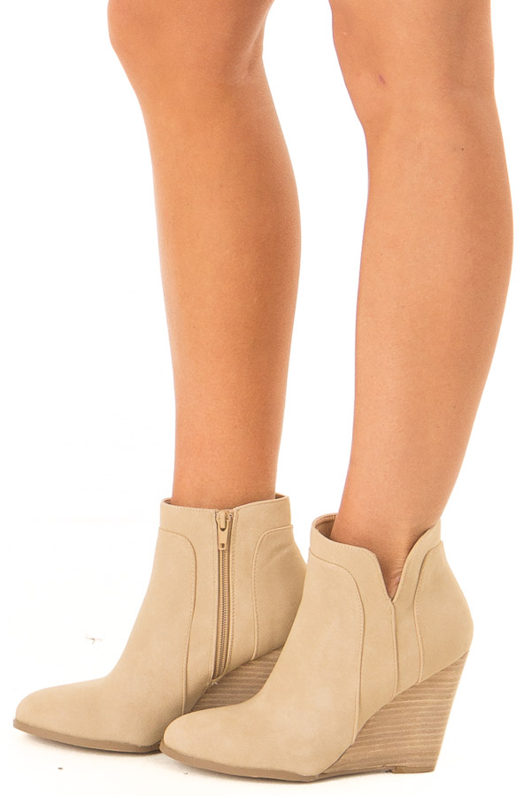 Camel Faux Suede Stacked Wedge Bootie side view