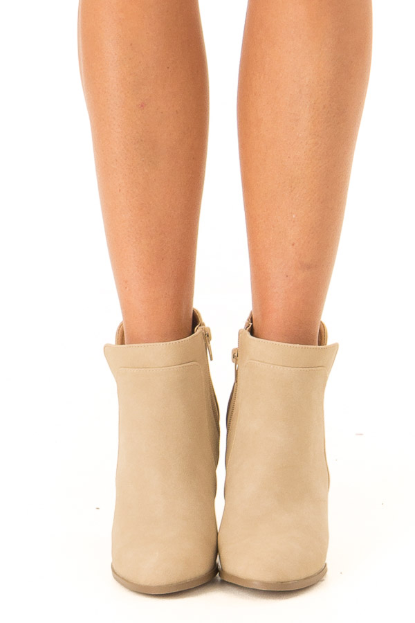 Camel Faux Suede Stacked Wedge Bootie front view