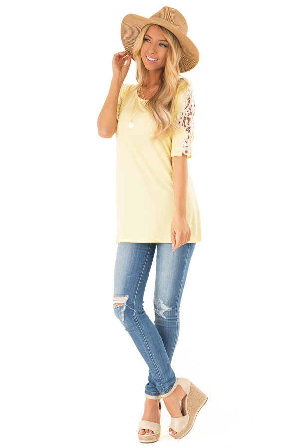 Banana Yellow Top with Sheer Lace Sleeve Detail front full body