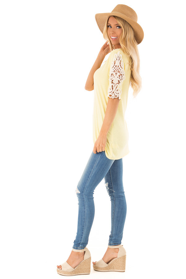 Banana Yellow Top with Sheer Lace Sleeve Detail side full body