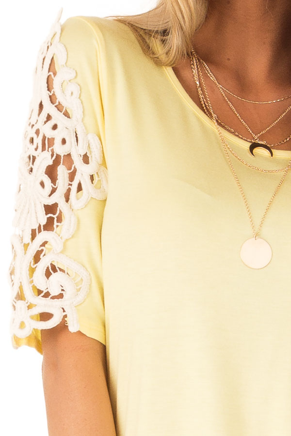 Banana Yellow Top with Sheer Lace Sleeve Detail detail