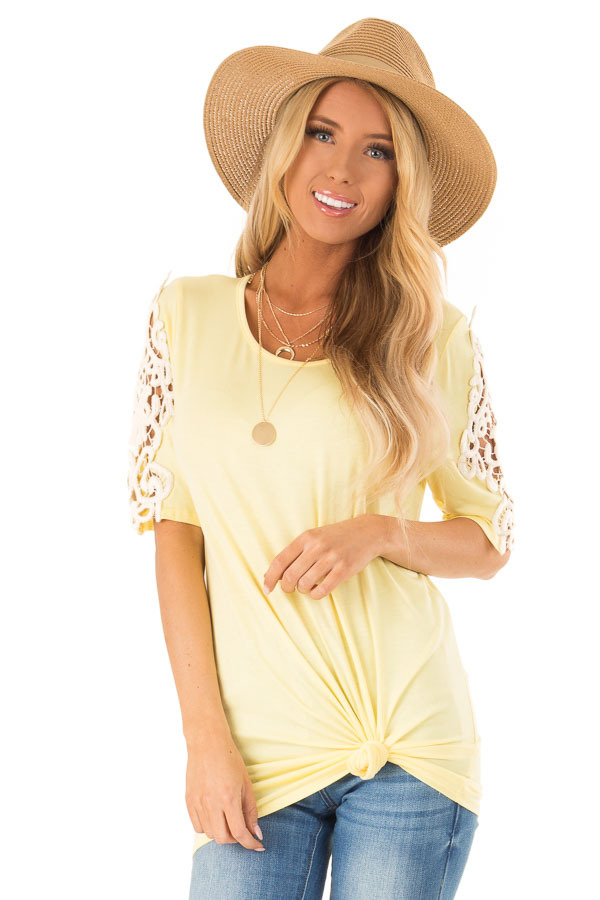 Banana Yellow Top with Sheer Lace Sleeve Detail front close up