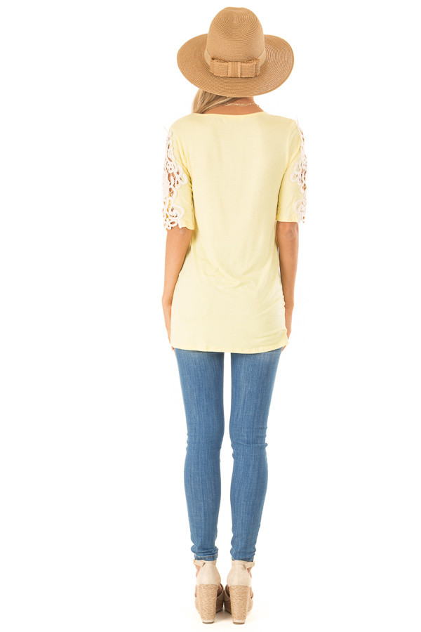 Banana Yellow Top with Sheer Lace Sleeve Detail back full body