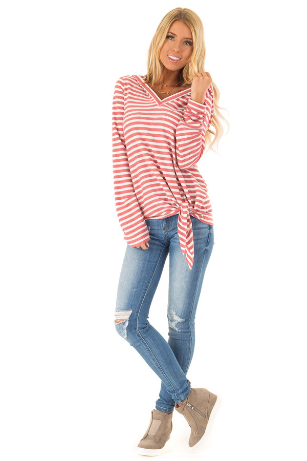 Dusty Mauve and Ivory Striped Hooded Top with Tie Detail front full body