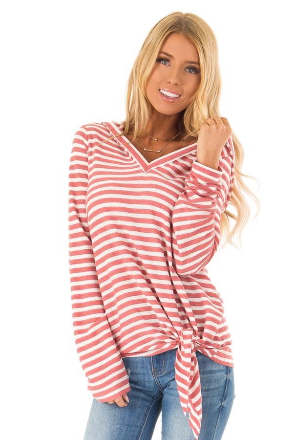 Dusty Mauve and Ivory Striped Hooded Top with Tie Detail front close up