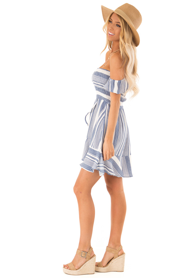 Denim Blue and Ivory Striped Off the Shoulder Ruffle Dress side full body
