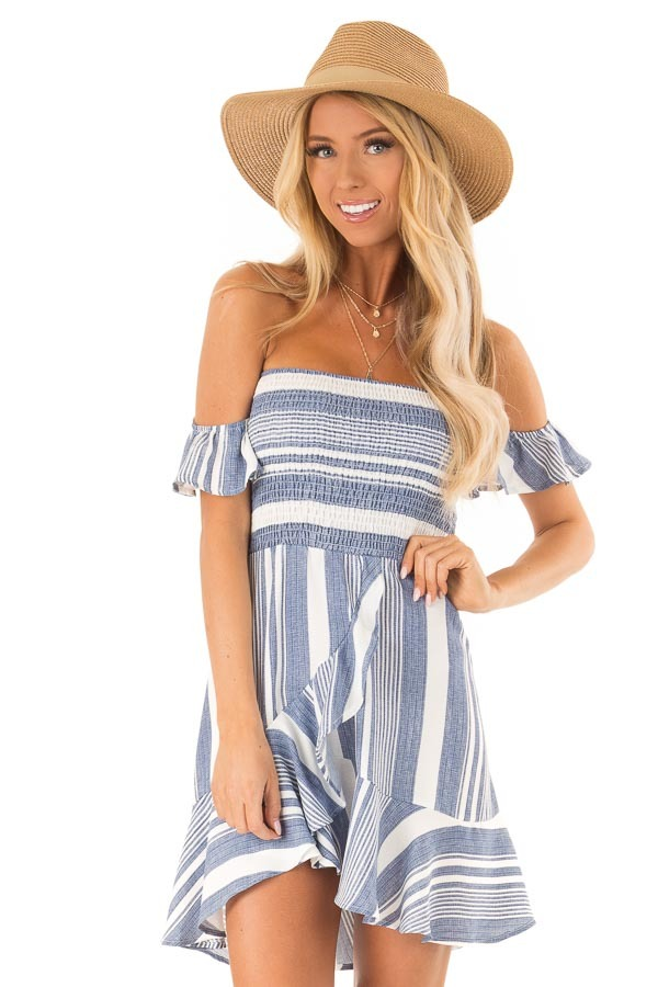 Denim Blue and Ivory Striped Off the Shoulder Ruffle Dress front close up