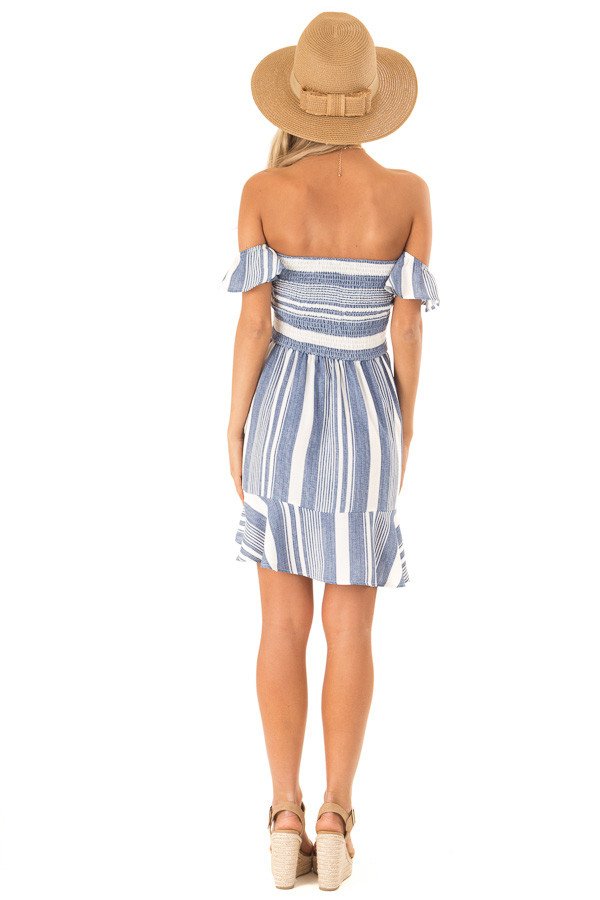 Denim Blue and Ivory Striped Off the Shoulder Ruffle Dress back full body