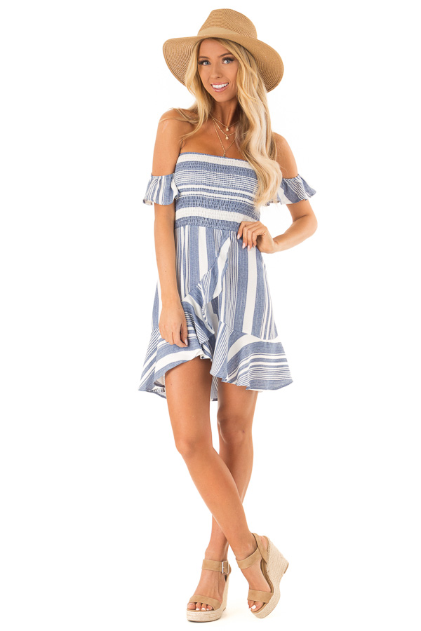 Denim Blue and Ivory Striped Off the Shoulder Ruffle Dress front full body