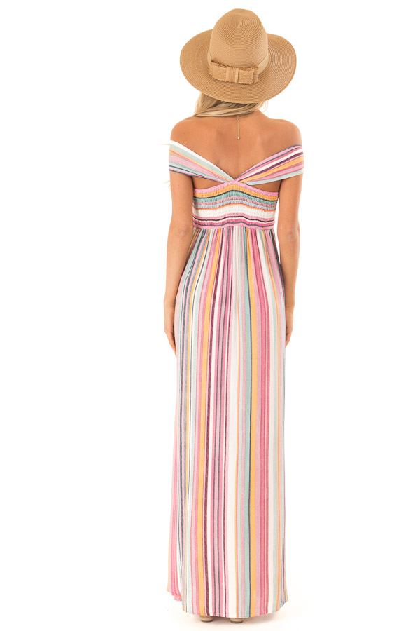 Multicolor Striped Halter Maxi Dress with Front Knot Detail back full body