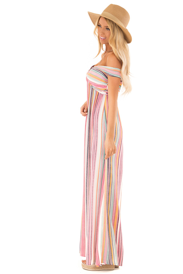Multicolor Striped Halter Maxi Dress with Front Knot Detail side full body
